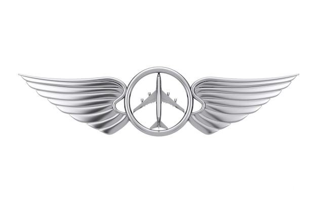 Silver pilot wing emblem, badge or logo symbol on a white background. 3d rendering