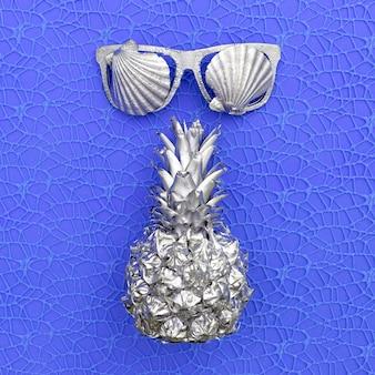 은색 파인애플과 안경. 해양 진동. 최소한의 예술 디자인