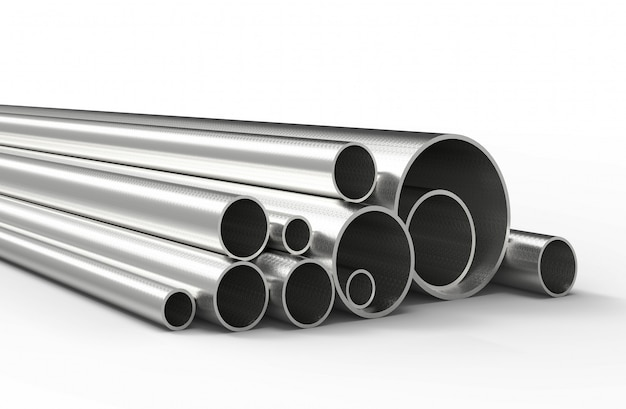 Silver pipes isolated. 3d rendering.