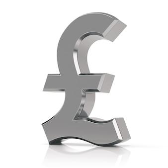 Серебряный символ фунта. знак британского фунта, изолированные на белом фоне.