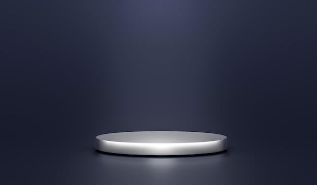 Серебряная подставка для фона продукта или постамент подиума на рекламном дисплее с пустыми фонами. 3d-рендеринг.