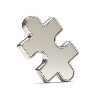 Silver puzzle piece on white background