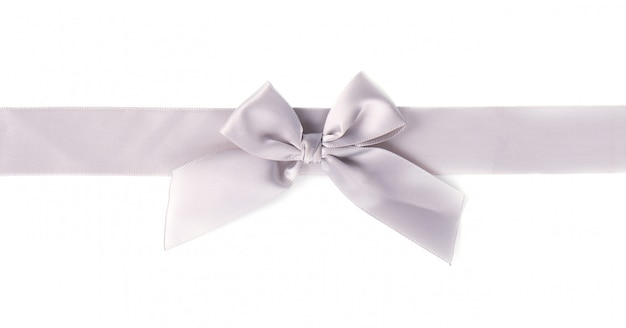 Silver ribbon pearl satin stripe band fabric bow isolated on white space