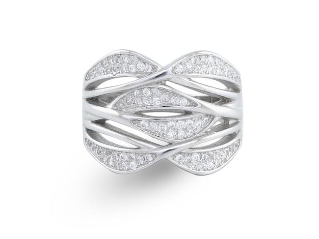 白で隔離の銀の指輪