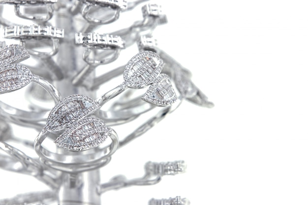 Silver rings with cz baguette shape on casting tree