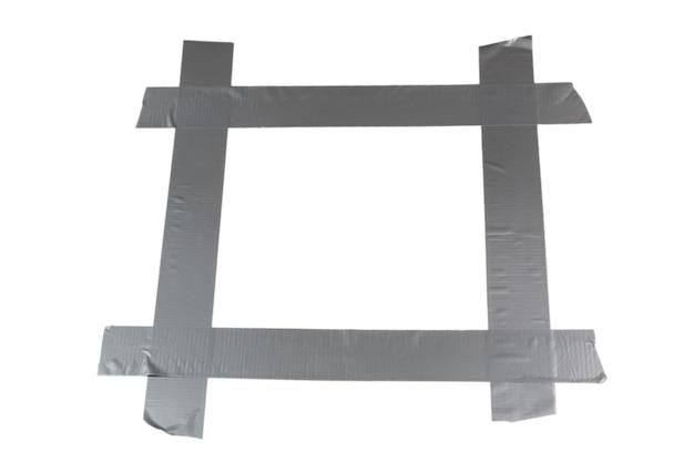 실버 스카치 테이프 조각 흰색 배경에 고립입니다. 평면도. 프리미엄 사진