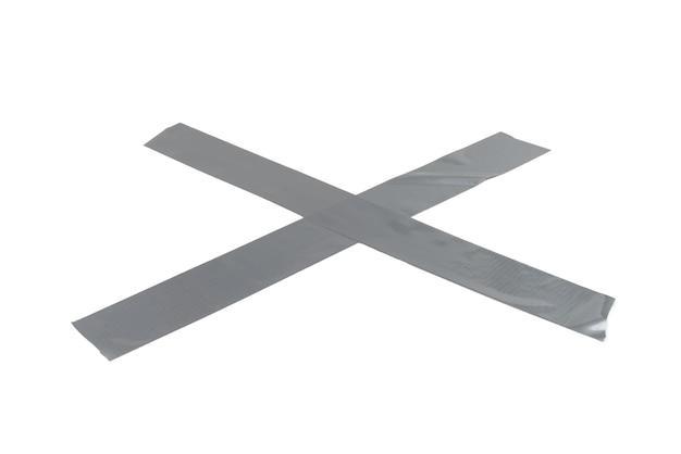 실버 스카치 테이프 조각 흰색 배경에 고립입니다. 평면도.