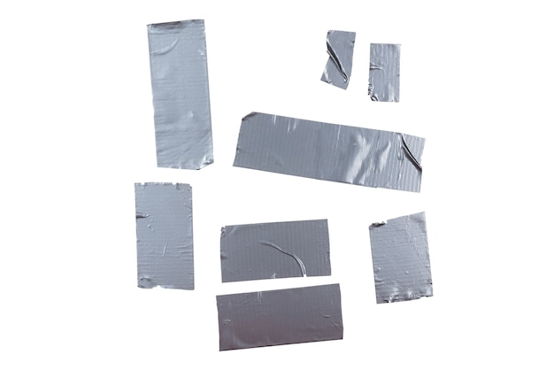 Silver scotch tape pieces isolated on white background. top view.