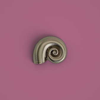 Silver seashell sculpture on pastel pink color. 3d rendering