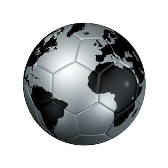 Серебряный футбольный футбольный мяч глобус мира