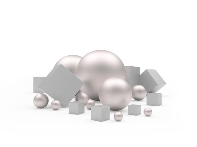 さまざまなサイズの銀の球体と立方体