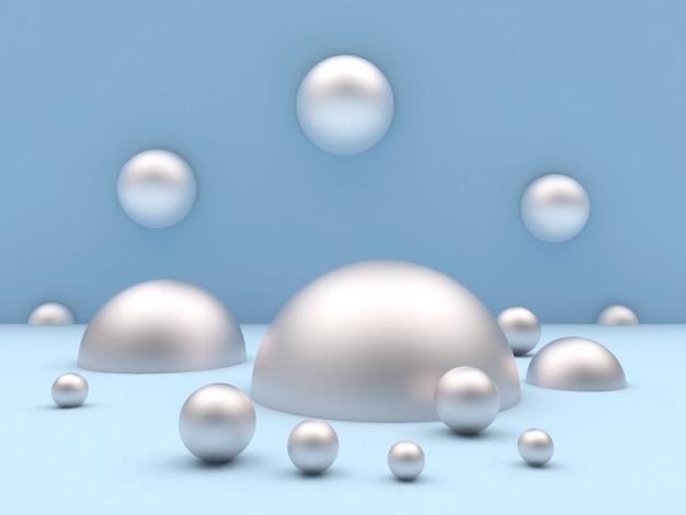 Серебряные шары и полусферы разных размеров