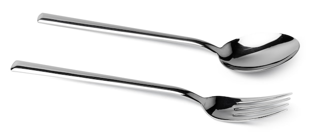 Silver spoon and fork isolated on white close up