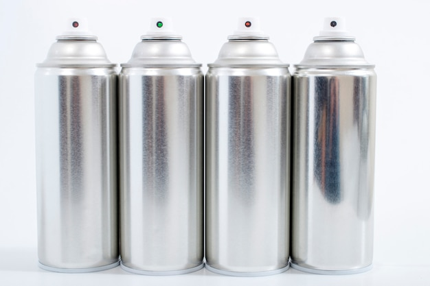 Silver spray cans