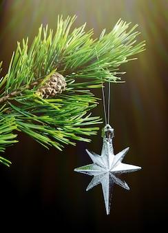 黒の背景に銀の星、クリスマス安物の宝石
