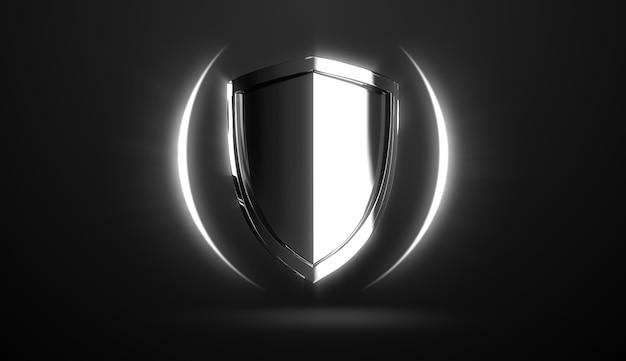 Дизайн защитного щита из серебряной стали на черном фоне