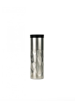 Silver thermos bottle with modern design isolated on white background with copy space