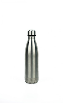 Silver thermos bottle with sport design isolated on white background with copy space