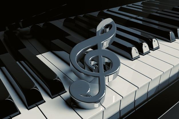 シルバーのト音記号は極端なクローズアップピアノの鍵盤にあります