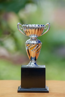 Silver trophy on bokeh light background