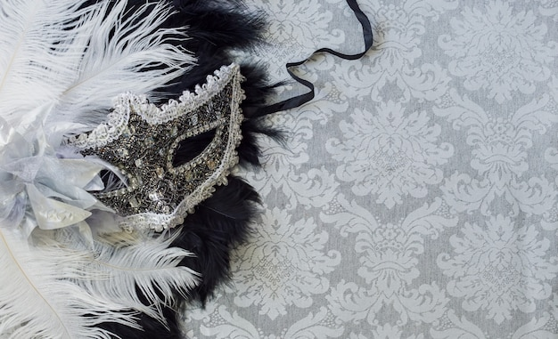 Silver venetian mask and feathers detail on gray vintage background