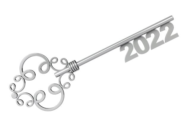 Серебряный старинный ключ со знаком 2022 года на белом фоне. 3d рендеринг