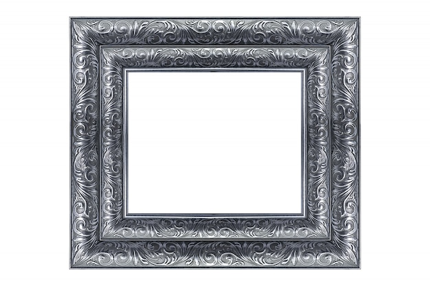 Silver vintage picture and photo frame isolated on white background.