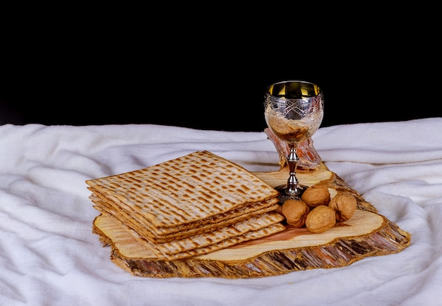 Silver wine cup with matzah