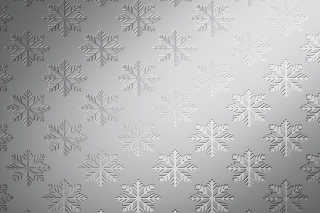 Silver winter pattern with repeating large snowflakes