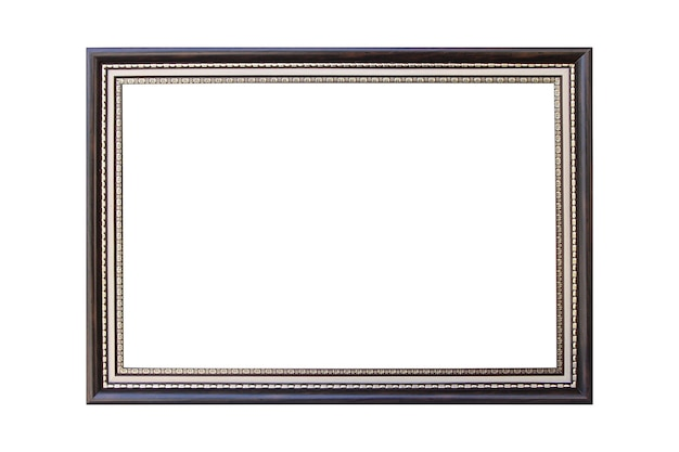 Silver and wooden antique vintage picture photo frame on isolated white background.