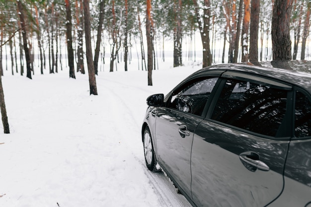 A silvery car in a snowy winter forest road