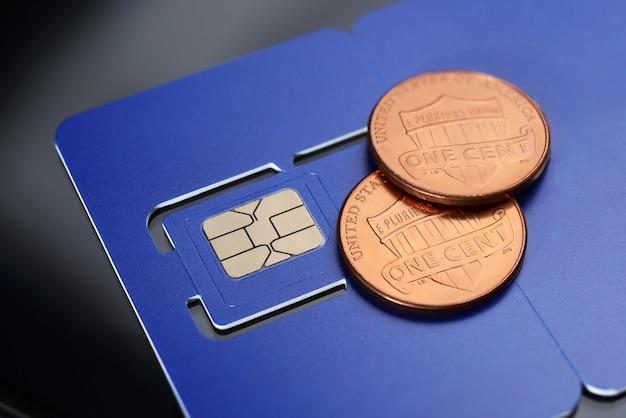 Sim card pre-cuted mini, micro, nano sizes and one cent coins.