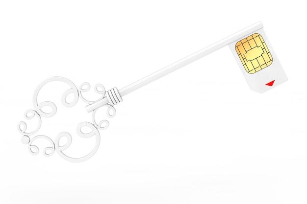 Sim card protection concept. white vintage key with sim card on a white background 3d rendering