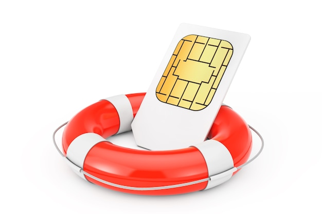 Sim card with lifebuoy on a white background. 3d rendering