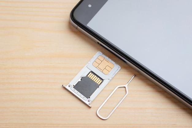 Simカードおよびメモリドライブ用のトレイを携帯電話に挿入する
