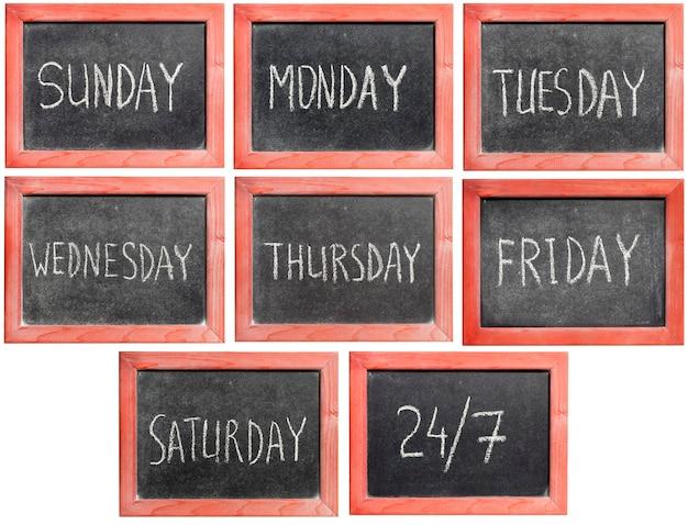 Similar handwritten days of week image set framed in vintage blackboard
