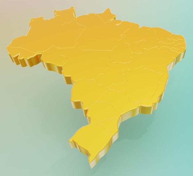 Простая 3d иллюстрация карты бразилии желтым на зеленом фоне