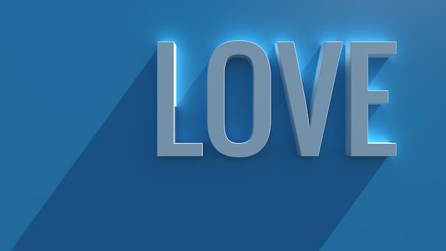 長い影とブルーム効果を持つ青い背景のシンプルな3dレンダリングテキスト。愛の言葉。
