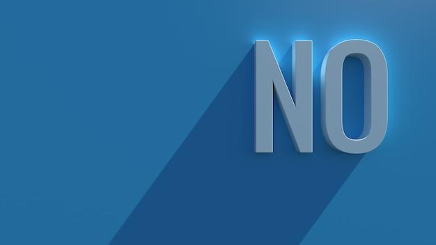 長い影とブルーム効果を持つ青い背景のシンプルな3dレンダリングテキスト。言葉はありません。