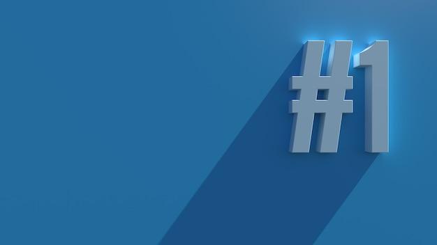 長い影とブルーム効果を持つ青い背景のシンプルな3dレンダリングテキスト。番号。