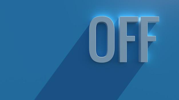 長い影とブルーム効果を持つ青い背景のシンプルな3dレンダリングテキスト。オフワード。