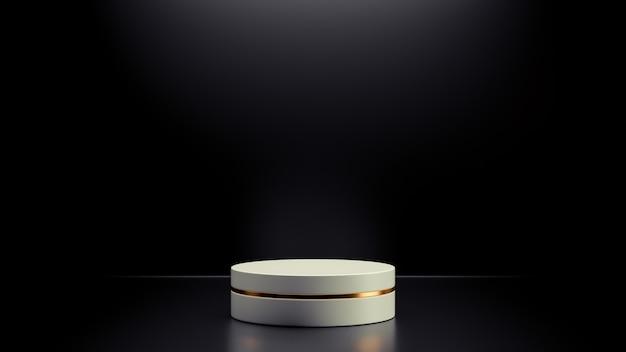 Простой абстрактный макет белого геометрического подиума с черным фоном