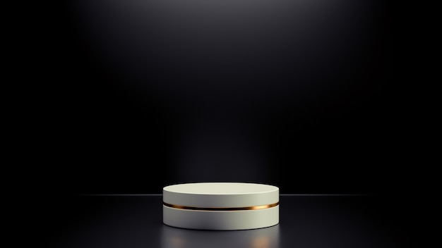 Simple abstract mockup of white geometric podium with  black background