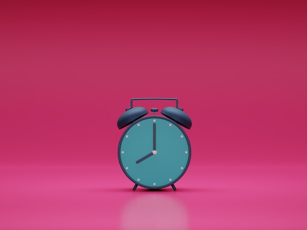 Simple alarm clock with pink background in 3d design