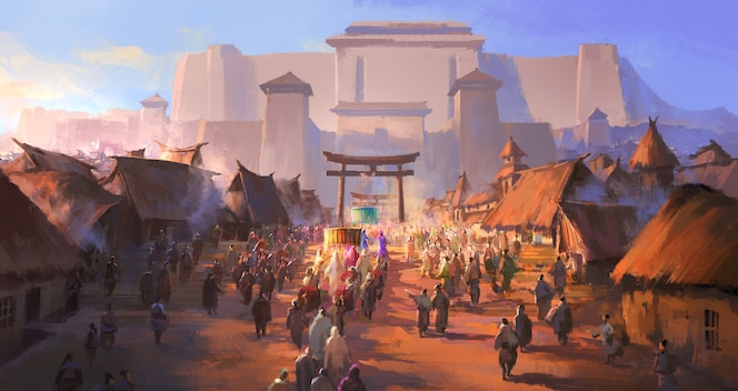 The simple ancient people greeted the foreign envoys illustration.