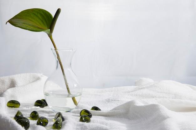 Spathiphyllum 꽃과 투명한 돌로 간단하고 아름다운 정물