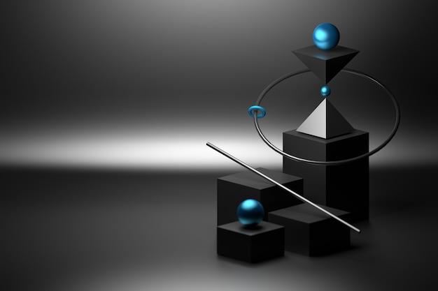검은 색의 기본 기본 도형 큐브 구체로 간단한 균형 구성