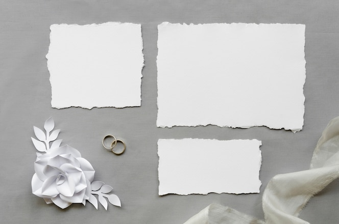 Simple blank wedding cards flat lay