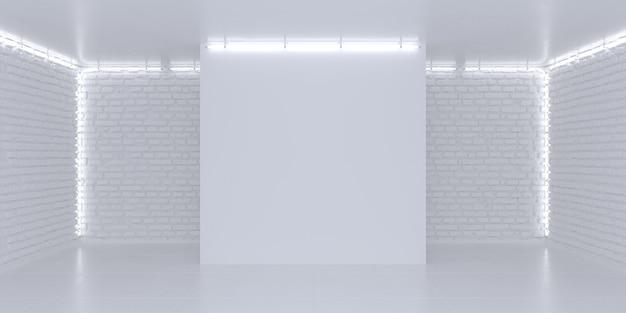 간단한 밝은 흰색 3d 배경 3 차원 무대 조명 벽돌 벽 네온 불빛