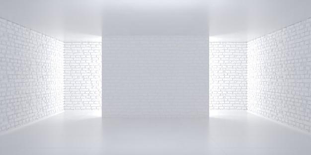 간단한 밝은 흰색 3d 무대 장면 배경입니다. 조명된 벽돌 벽, 가벼운 플레어. 3d 렌더링